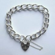 "Ladies 7"" 10mm thick sterling silver charm bracelet 32g"